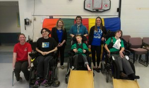 Boccia team accepting the cheque from the Kin / PHE student council